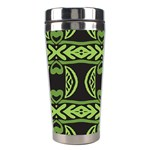 Green shapes on a black background pattern Stainless Steel Travel Tumbler Left