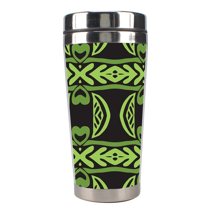 Green shapes on a black background pattern Stainless Steel Travel Tumbler