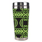 Green shapes on a black background pattern Stainless Steel Travel Tumbler Right