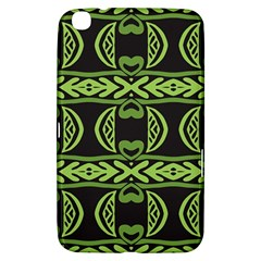 Green Shapes On A Black Background Pattern Samsung Galaxy Tab 3 (8 ) T3100 Hardshell Case