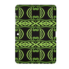 Green shapes on a black background pattern Samsung Galaxy Tab 2 (10.1 ) P5100 Hardshell Case
