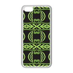 Green Shapes On A Black Background Pattern Apple Iphone 5c Seamless Case (white)