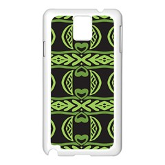 Green shapes on a black background pattern Samsung Galaxy Note 3 N9005 Case (White)