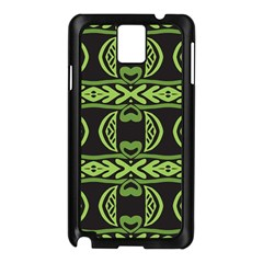 Green shapes on a black background pattern Samsung Galaxy Note 3 N9005 Case (Black)