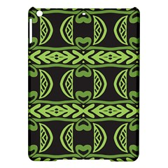 Green shapes on a black background pattern Apple iPad Air Hardshell Case