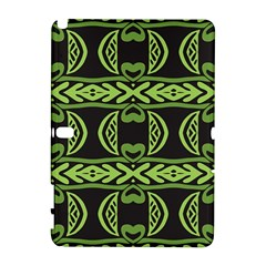 Green shapes on a black background pattern Samsung Galaxy Note 10.1 (P600) Hardshell Case