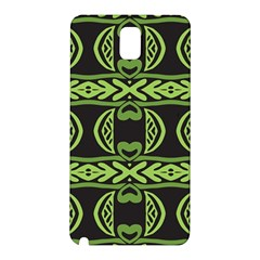 Green Shapes On A Black Background Pattern Samsung Galaxy Note 3 N9005 Hardshell Back Case