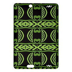 Green shapes on a black background pattern Kindle Fire HD (2013) Hardshell Case