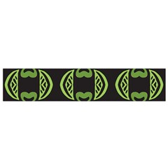 Green shapes on a black background pattern Flano Scarf (Small)