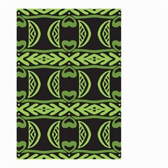 Green shapes on a black background pattern Small Garden Flag (Two Sides)