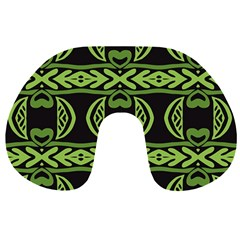 Green Shapes On A Black Background Pattern Travel Neck Pillow
