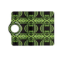 Green Shapes On A Black Background Pattern Kindle Fire Hd (2013) Flip 360 Case