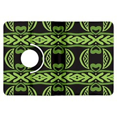 Green shapes on a black background pattern Kindle Fire HDX Flip 360 Case