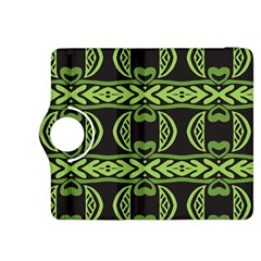 Green shapes on a black background pattern Kindle Fire HDX 8.9  Flip 360 Case