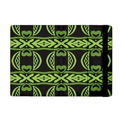 Green shapes on a black background pattern Apple iPad Mini 2 Flip Case