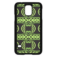 Green Shapes On A Black Background Pattern Samsung Galaxy S5 Case (black)
