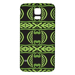 Green shapes on a black background pattern Samsung Galaxy S5 Back Case (White)