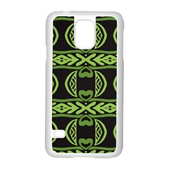 Green shapes on a black background pattern Samsung Galaxy S5 Case (White)