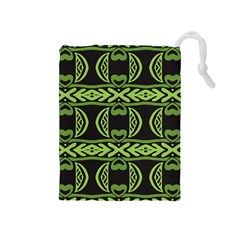 Green shapes on a black background pattern Drawstring Pouch (Medium)