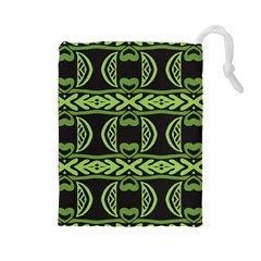Green shapes on a black background pattern Drawstring Pouch (Large)