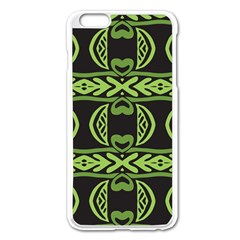 Green shapes on a black background pattern Apple iPhone 6 Plus Enamel White Case
