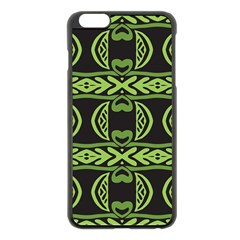 Green shapes on a black background pattern Apple iPhone 6 Plus Black Enamel Case