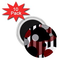 Black White Red Stripes Dots 1 75  Button Magnet (10 Pack)