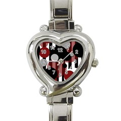 Black White Red Stripes Dots Heart Italian Charm Watch