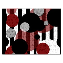 Black White Red Stripes Dots Jigsaw Puzzle (rectangle)