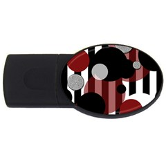 Black White Red Stripes Dots 4gb Usb Flash Drive (oval)
