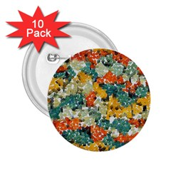 Paint Strokes In Retro Colors 2 25  Button (10 Pack)
