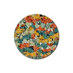 Paint Strokes In Retro Colors Rubber Round Coaster (4 Pack)