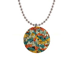 Paint Strokes In Retro Colors 1  Button Necklace