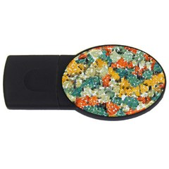 Paint Strokes In Retro Colors Usb Flash Drive Oval (4 Gb)