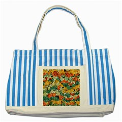 Paint Strokes In Retro Colors Striped Blue Tote Bag