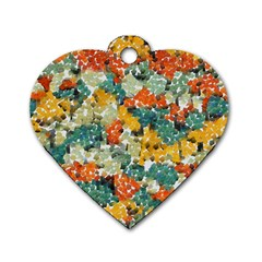 Paint Strokes In Retro Colors Dog Tag Heart (one Side)