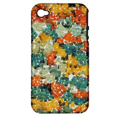 Paint Strokes In Retro Colors Apple Iphone 4/4s Hardshell Case (pc+silicone)