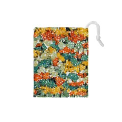 Paint strokes in retro colors Drawstring Pouch (Small)