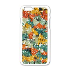 Paint strokes in retro colors Apple iPhone 6 White Enamel Case