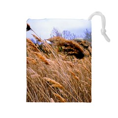 Blowing Prairie Grass Drawstring Pouch (large)