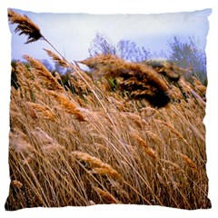 Blowing Prairie Grass Large Flano Cushion Case (two Sides)