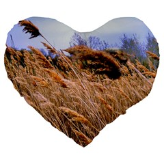 Blowing prairie Grass 19  Premium Flano Heart Shape Cushion