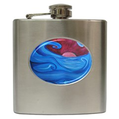 Blown Ocean Waves Hip Flask