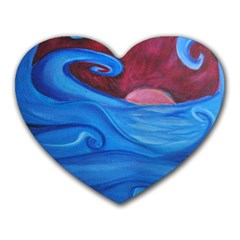 Blown Ocean Waves Mouse Pad (heart)