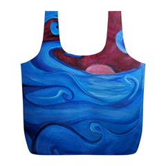 Blown Ocean Waves Reusable Bag (L)
