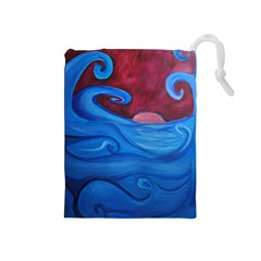 Blown Ocean Waves Drawstring Pouch (Medium)