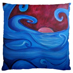 Blown Ocean Waves Large Flano Cushion Case (one Side)