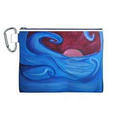 Blown Ocean Waves Canvas Cosmetic Bag (Large)