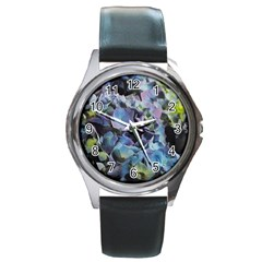 Blue And Purple Hydrangea Group Round Leather Watch (silver Rim)