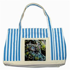 Blue and Purple Hydrangea Group Blue Striped Tote Bag